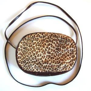 VTG 80s Pony Skin Leopard Print Cross Body Bag